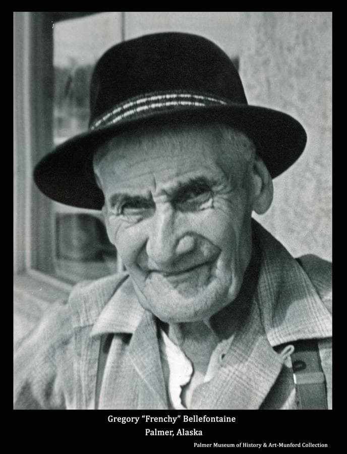 """Image is of old-time sourdough """"Frenchy"""" Bellefontaine.  (Sept. 8, 1882-Dec. 24, 1967)"""