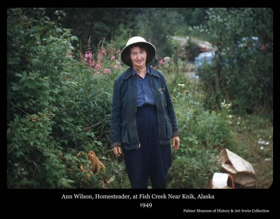 """Photo is a color image of a woman, identified as homesteader Ann Wilson standing among bushes and flowers, a blue vehicle is partially visible behind and trees beyond.  Ann and her husband """"Ty"""" homesteaded on Fairview Loop south of Wasilla, Alaska."""