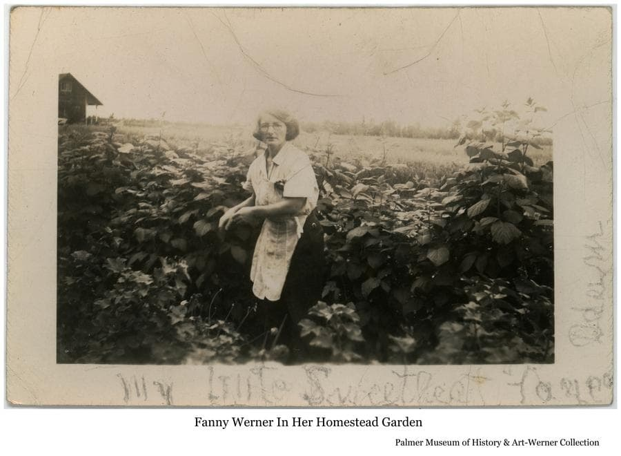 """Image is of Fanny Werner in her garden at the Werner Homestead.  The house is partially visible at left.  On the photo margin is lettered """"My Little Sweetheart Farmer,  Adam""""."""