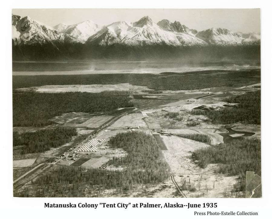 Image is a southerly oblique aerial view showing a cluster of tents at the Palmer townsite adjacent to the railroad line with patches of forest and fields in the foreground.  Dense forest and the Matanuska River are in middle ground and snow-clad mountains are beyond.