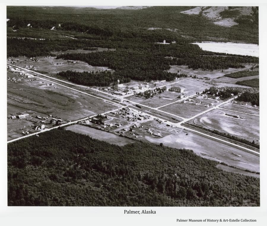 Image is a high oblique summer view of Palmer, Alaska looking northeast across the town to the Matanuska River and the base of Lazy Mountain.   Local homesteads and other clearings within heavy forest are apparent as are roads, streets and community buildings.