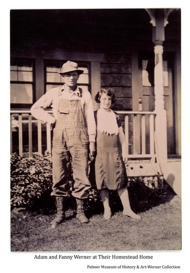 Image shows Adam and Fanny Werner standing together in front of their homestead house.