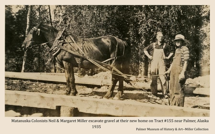 Image shows Colonists Neil and Margaret Miller with a horse excavating gravel within the foundation of their new house under construction.  Foundation beams are evident.  Heavy birch forest forms the backdrop.
