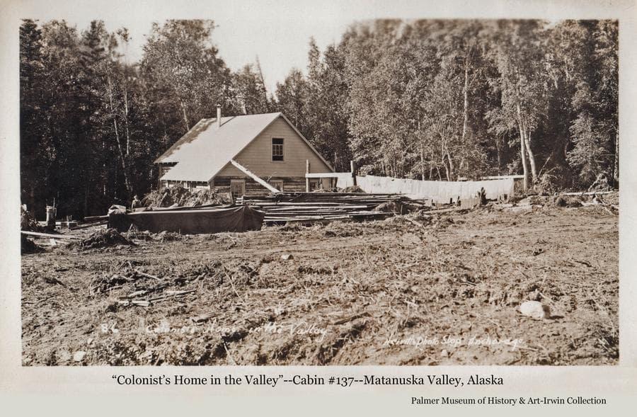 Image is of a log house, identified as cabin #137.  Exterior construction appears to be complete with many stumps and lumber in the yard.  Laundry hangs on a clothes line.  A man is visible at left.  Heavy birch forest is a close backdrop