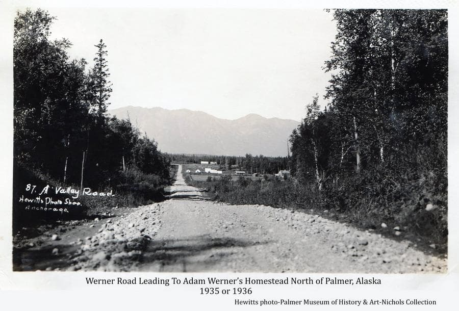 Image shows a straight gravel road through heavy forest in foreground leading past tents and buildings in far middle ground with Adam Werner's homestead buildings evident at the end.  Chugach Mountains are in background.