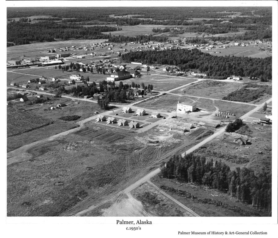Image is an oblique aerial summer view looking northwest showing the Experiment Station research buildings in foreground, community center buildings, some of the Palmer commercial district and farm clearings beyond.