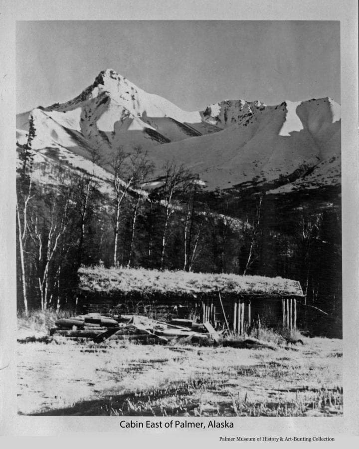 """Image is a winter view of a log cabin with sod roof, a pile of logs and wood are beside the cabin, birch trees behind and snow-clad mountains are behind.  The prominent mountain in the view has been variously called """"the Matterhorn"""", Buyer's Peak, Pilot Peak and Matanuska Peak."""