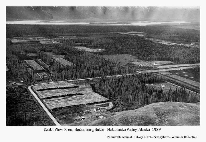 Image is an oblique view from Bodenburg Butte looking south over several Colony farmsteads. Barns & houses are visible and newly cleared fields are obvious within the remaining forest. Stump rows are evident within the fields, roads are apparent in foreground. The Knik River is visible in background.