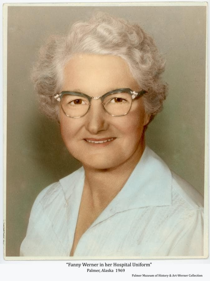 Image is a formal color portrait of Fanny Werner in her Hospital uniform.  Following the death of her husband, Adam, Fanny continued to operate their dairy farm for a time and then took employment as a housekeeper at the Valley Hospital.  She took great pride in her work at the Hospital, as she did in maintaining her Homestead.