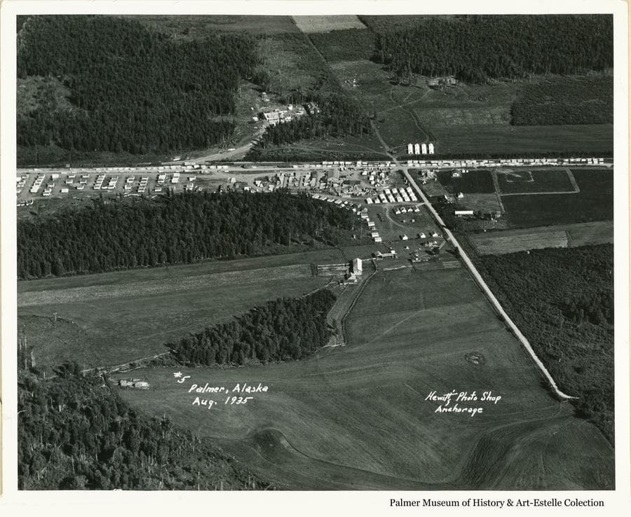 """Image is a black & white high oblique view including much of John Bugge's homestead, the """"Tent City"""" of Palmer, patches of cleared land and uncut forest.  The """"Wasilla road"""" is apparent to Bugge's hill."""