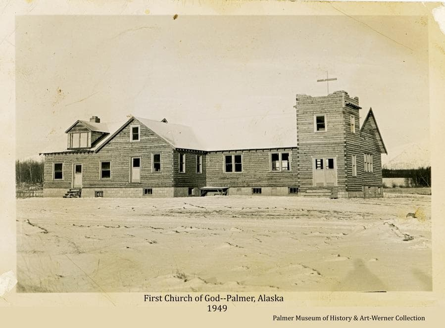 Image shows the First Church of God in Palmer with construction essentially complete.