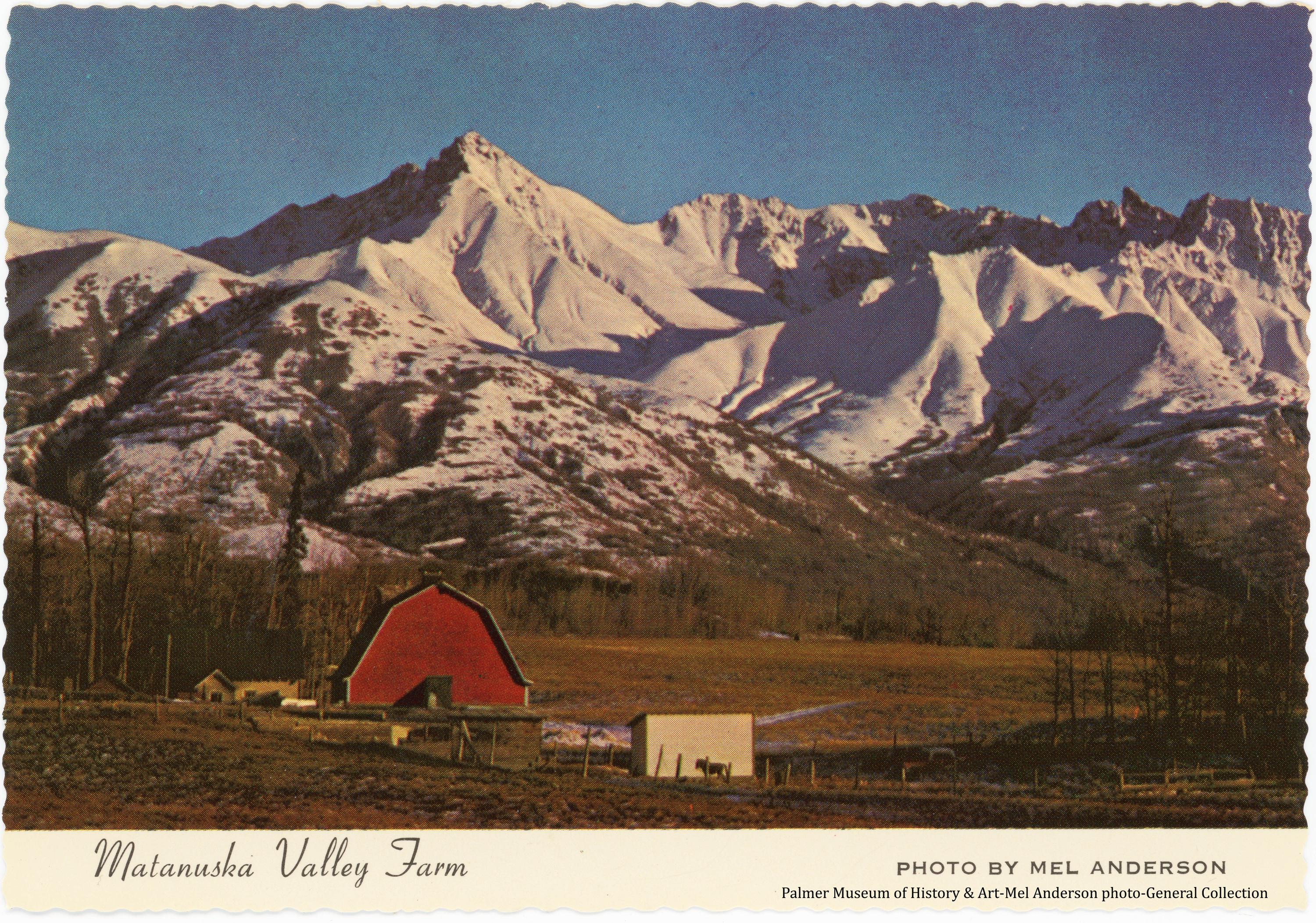 Image is an easterly view of a red barn and other outbuildings of a Matanuska Colony farmstead located on tract #169 along the Palmer Fishhook Road north of Palmer.  Snow-clad mountains form the prominent background