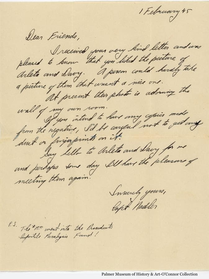 """Letter to the Goodrich family transmitting the photo negative to them of the """"Buddies"""" photo."""