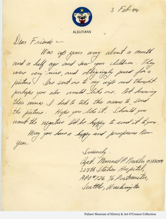 """Transmittal letter associated with the """"Buddies"""" photo.  Letter's date of 1944 appears to be a mistake considering its content and the date stamp on the envelope it was delivered in, and should be 1945."""
