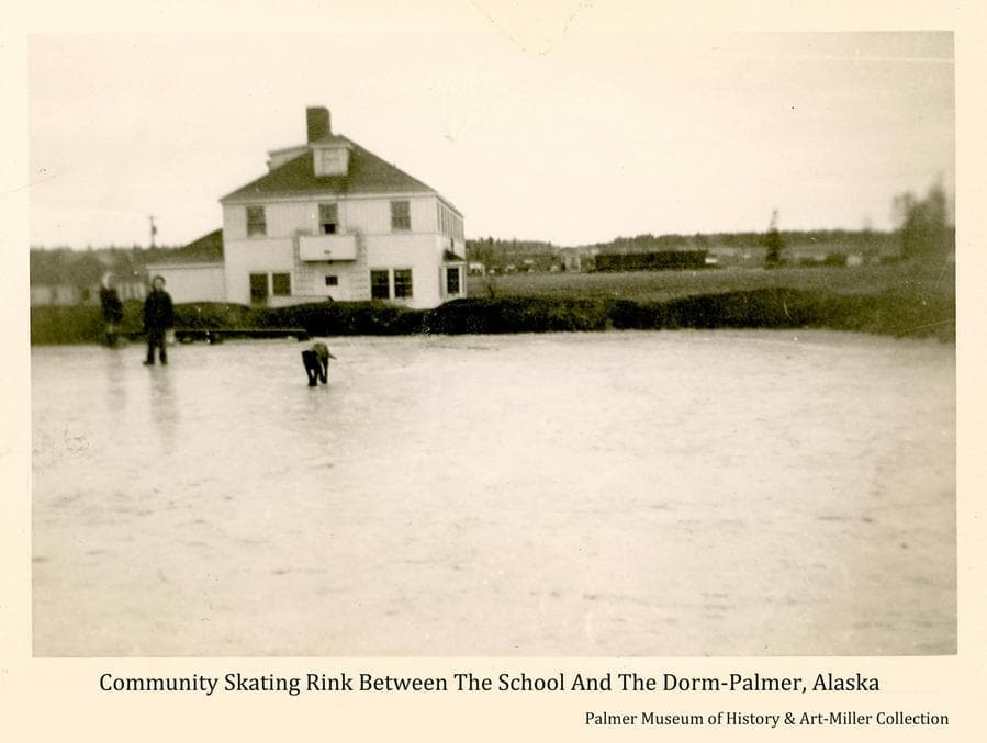 """Image shows a frozen impoundment as a community skating rink in foreground with two children and a dog on the ice.  """"The Dorm"""" building is prominent directly beyond.  In the background are buildings of the Palmer."""