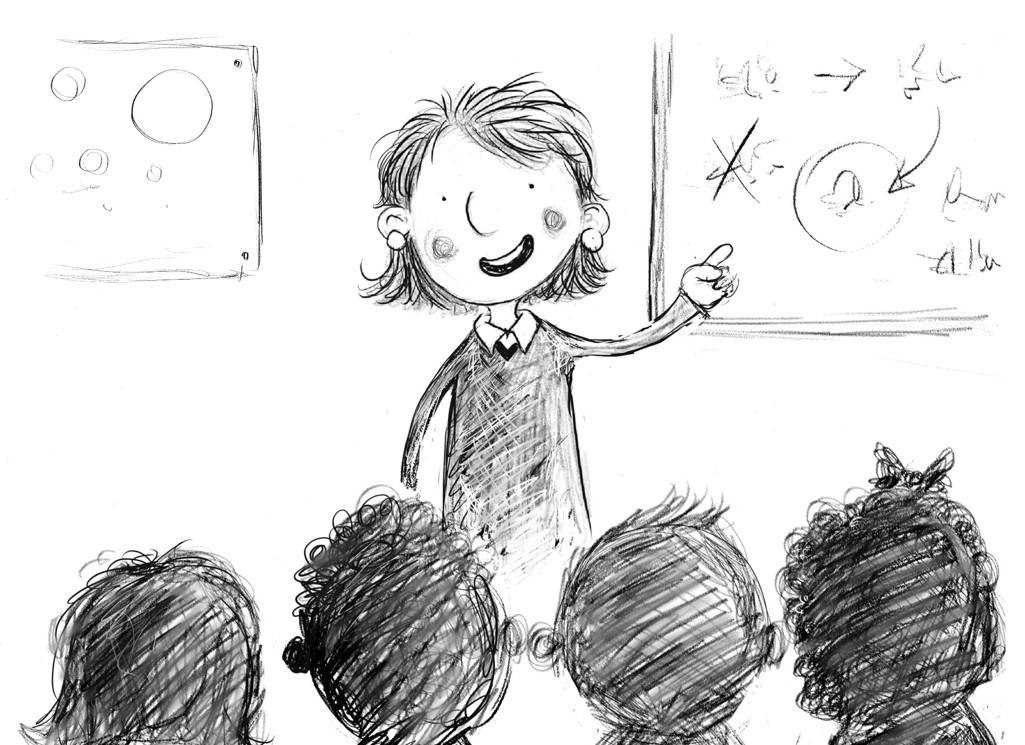Drawing of a teacher teaching a class