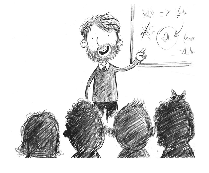 Drawing of a teacher at the blackboard