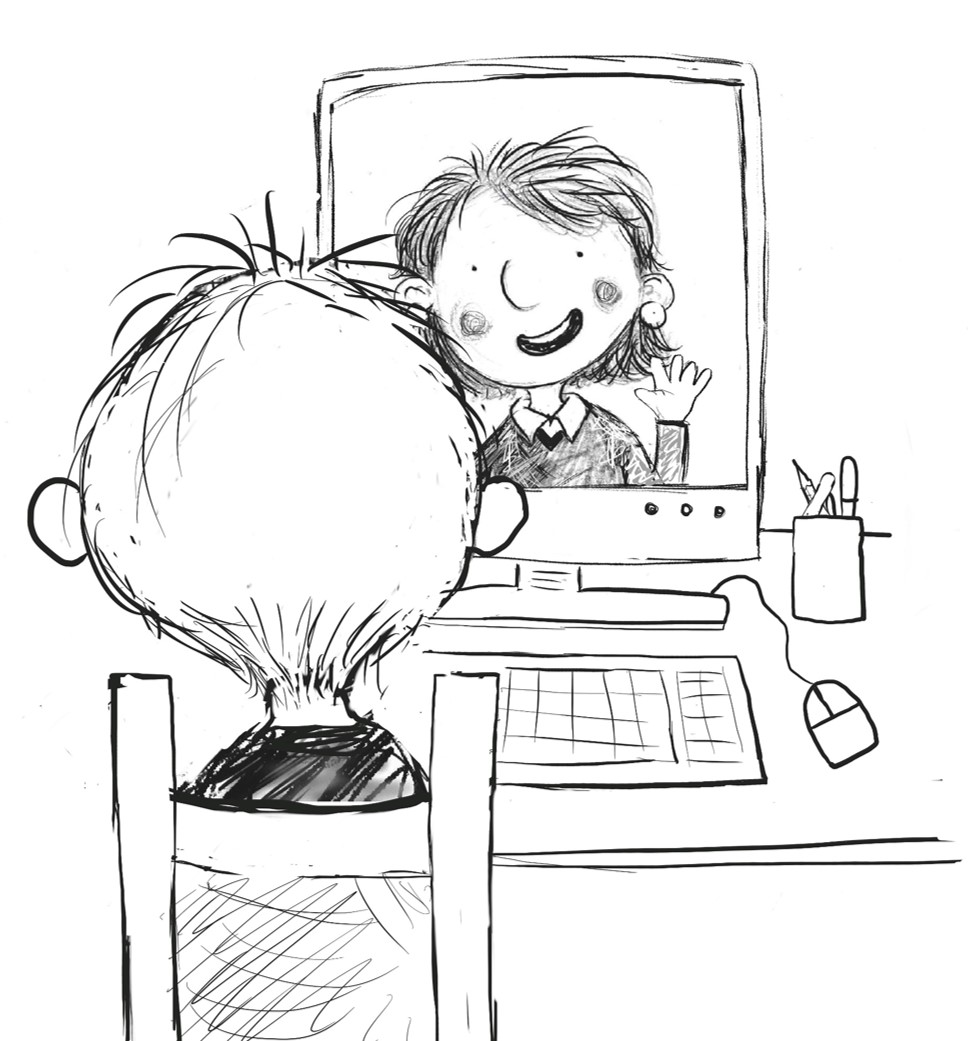 Drawing of pupils conversing online