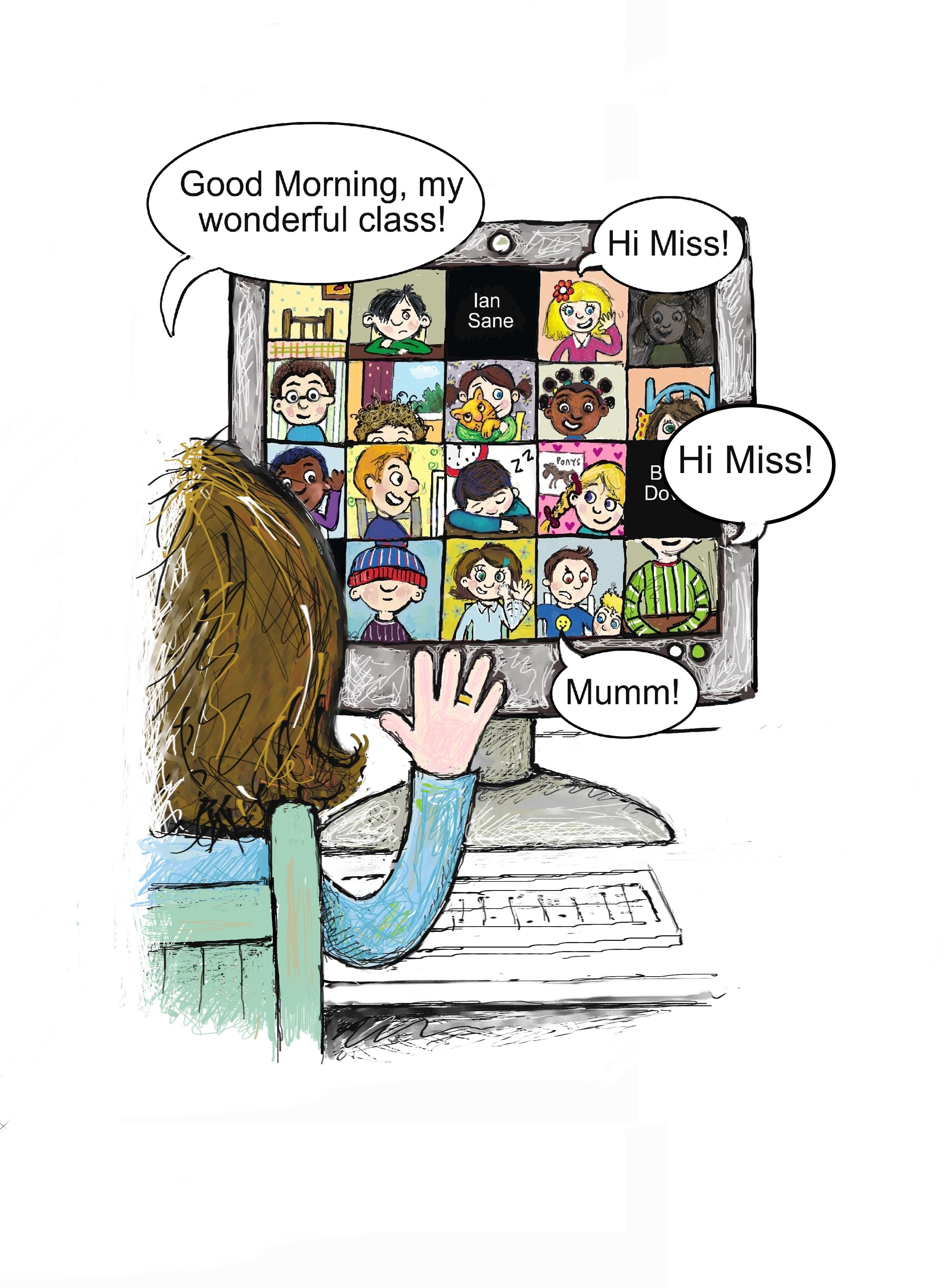 A teacher views a class of pupils meeting together in an online class