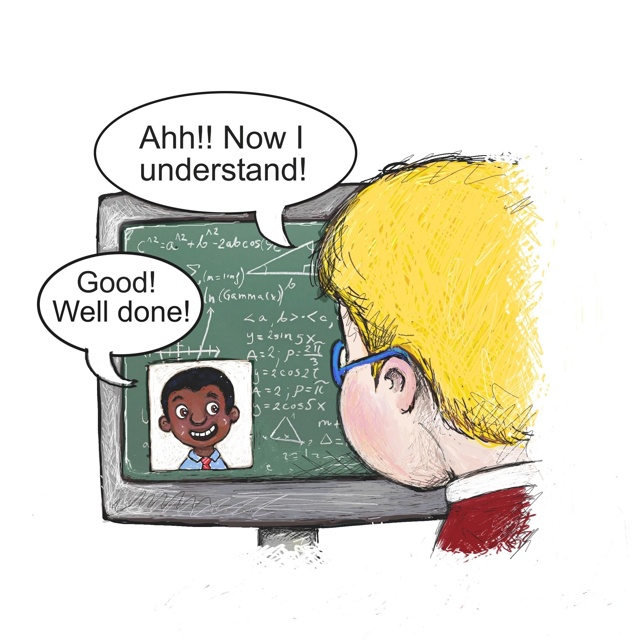 A teacher teaches a pupil online