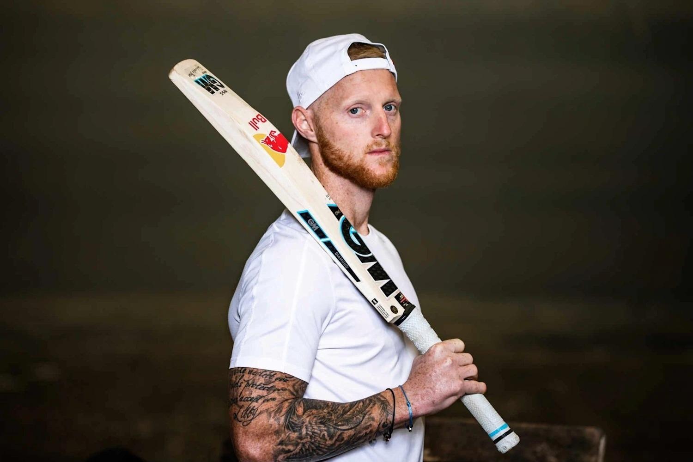 Ben Stokes holding a Cricket Bat