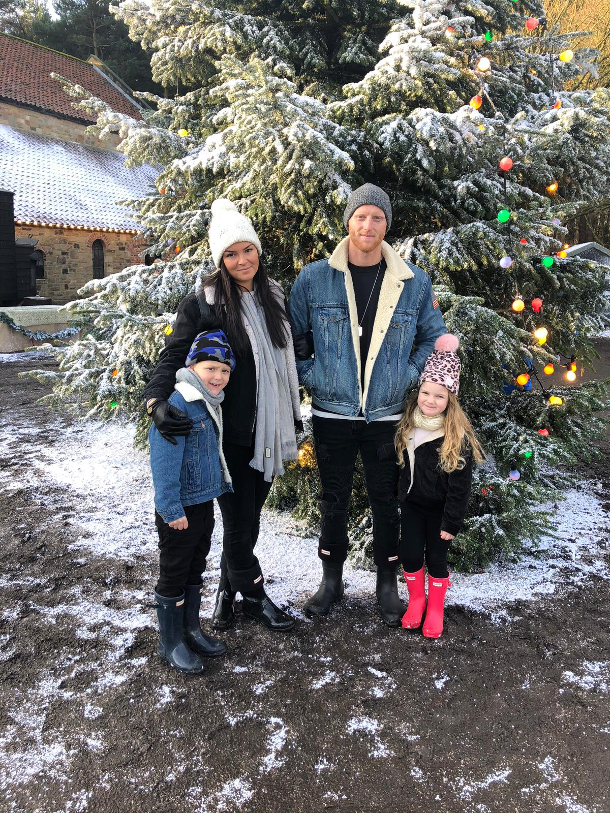 Ben Stokes with his family at Christmas.