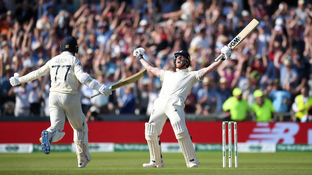 Ben Stokes celebrating with his team on the field