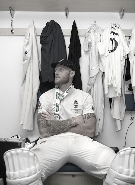 Ben Stokes sat in a changing room