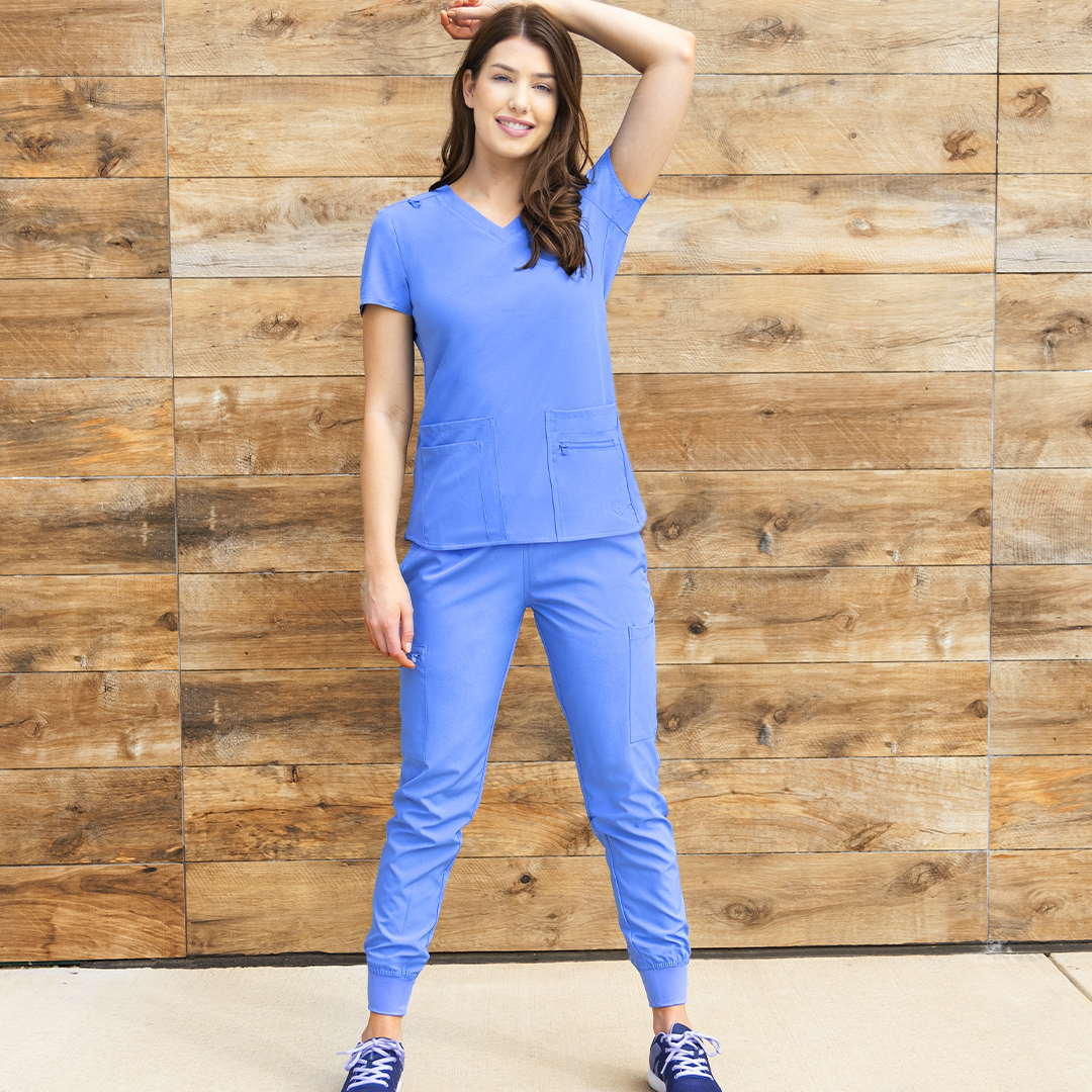 The Energy collection, featuring jogger scrubs and a knit back top