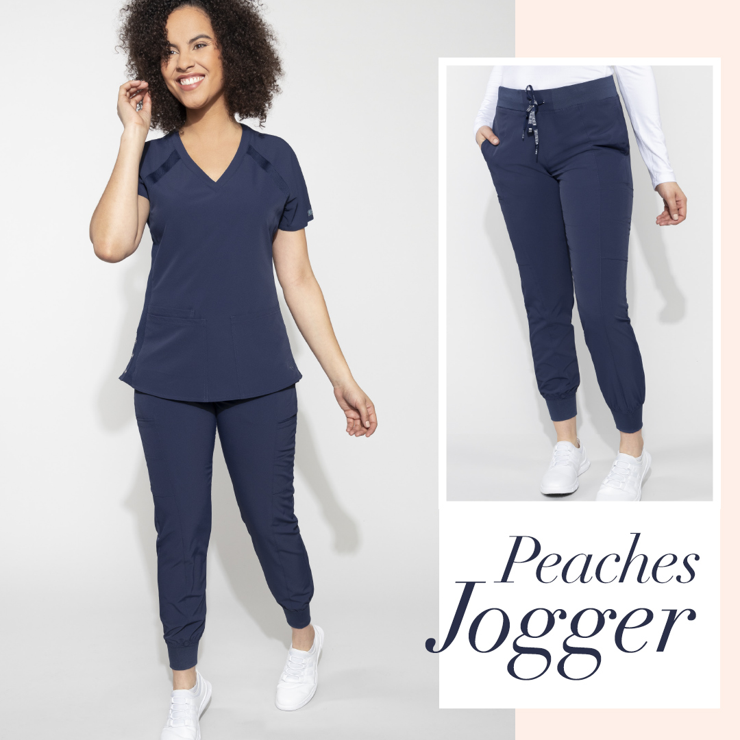 The Peaches collection, scrub joggers feature