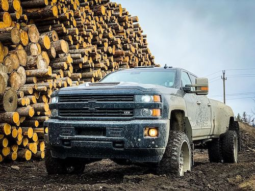 Badass Chevy LTZ in the mud next to a pile of logs