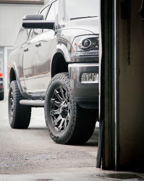 Diesel truck outside the mechanic shop