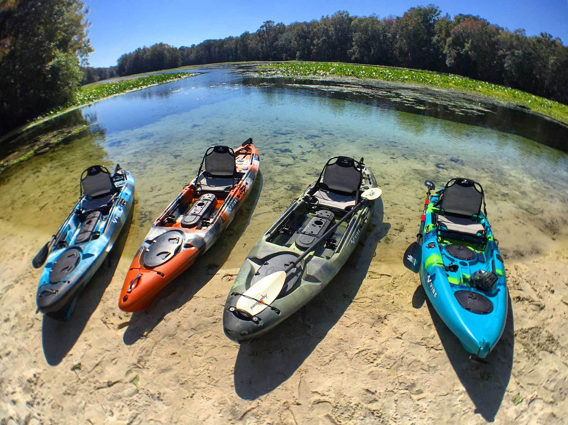 Group of kayaks lined up on a sandy shoreline.