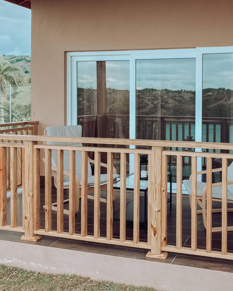 House Balcony with sliding doors. Presa de Taveras, La Vega. Dominican Republic.