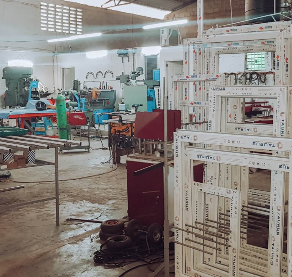 Factory where Fenestra'a custom-made windows and doors are being produced. Located in Santiago, Dominican Republic.