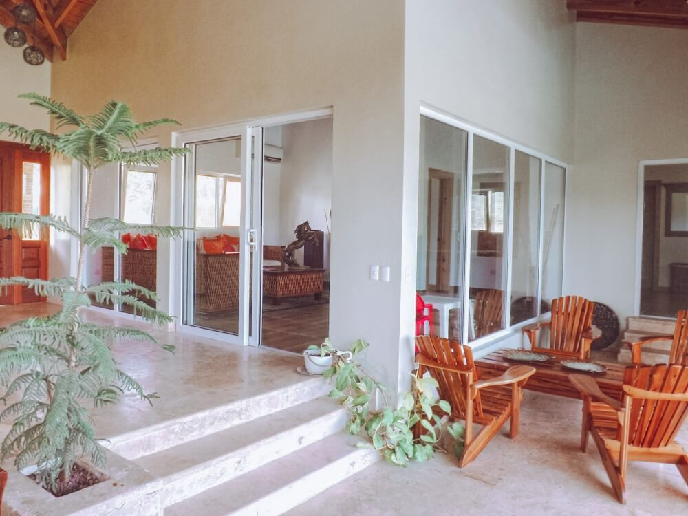 Patio view of a house with PVC tilt and slide windows. Located in Terramar, Sosua. Dominican Republic.