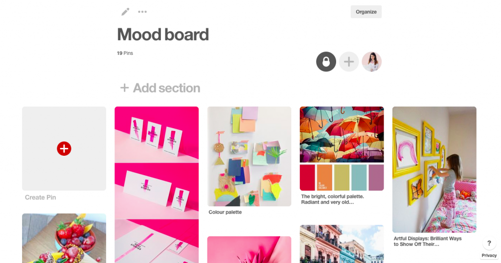 create a mood board using Canva