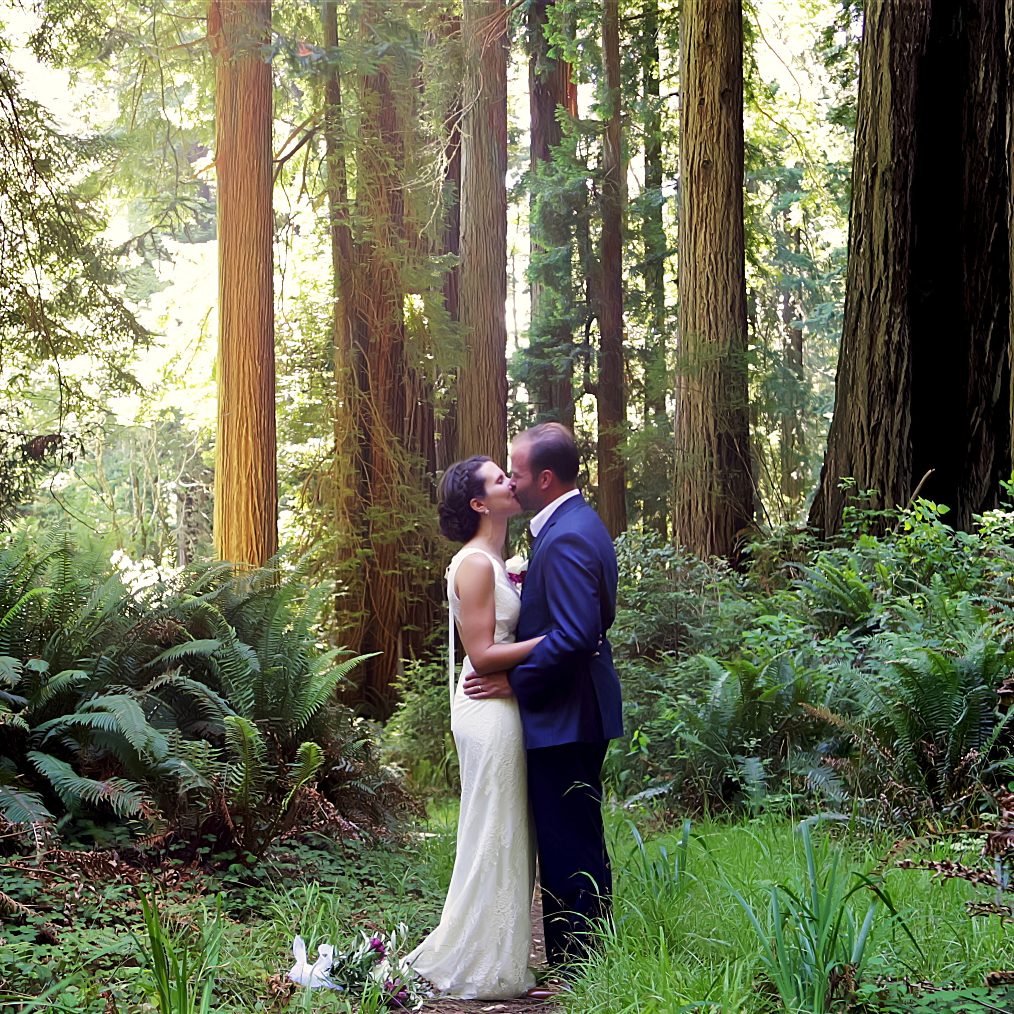 Bride and Groom getting married in Redwood forest