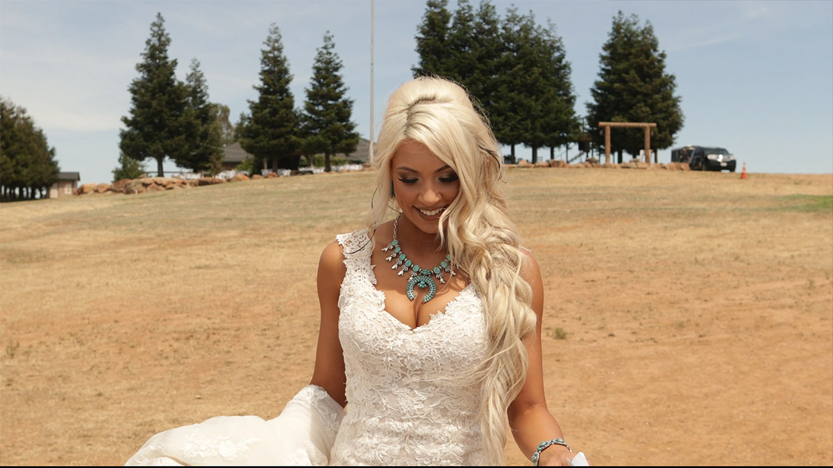 Messina the bride walking down the isle