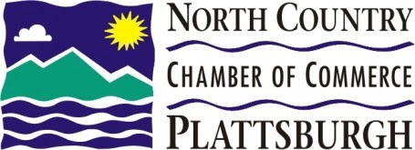 North Country Chamber of Commerce Plattsburgh Logo with the Sun Over the Adirondack Mountains and Lake Champlain