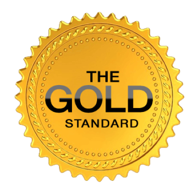 Gold Badge with 'The Gold Standard' written in the middle