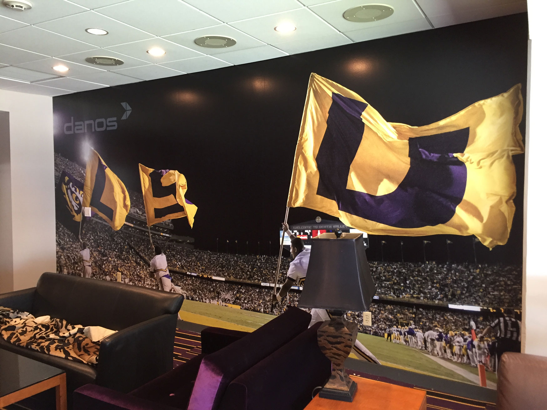 Danos Wall Mural LSU Suite Tiger Stadium Baton Rouge