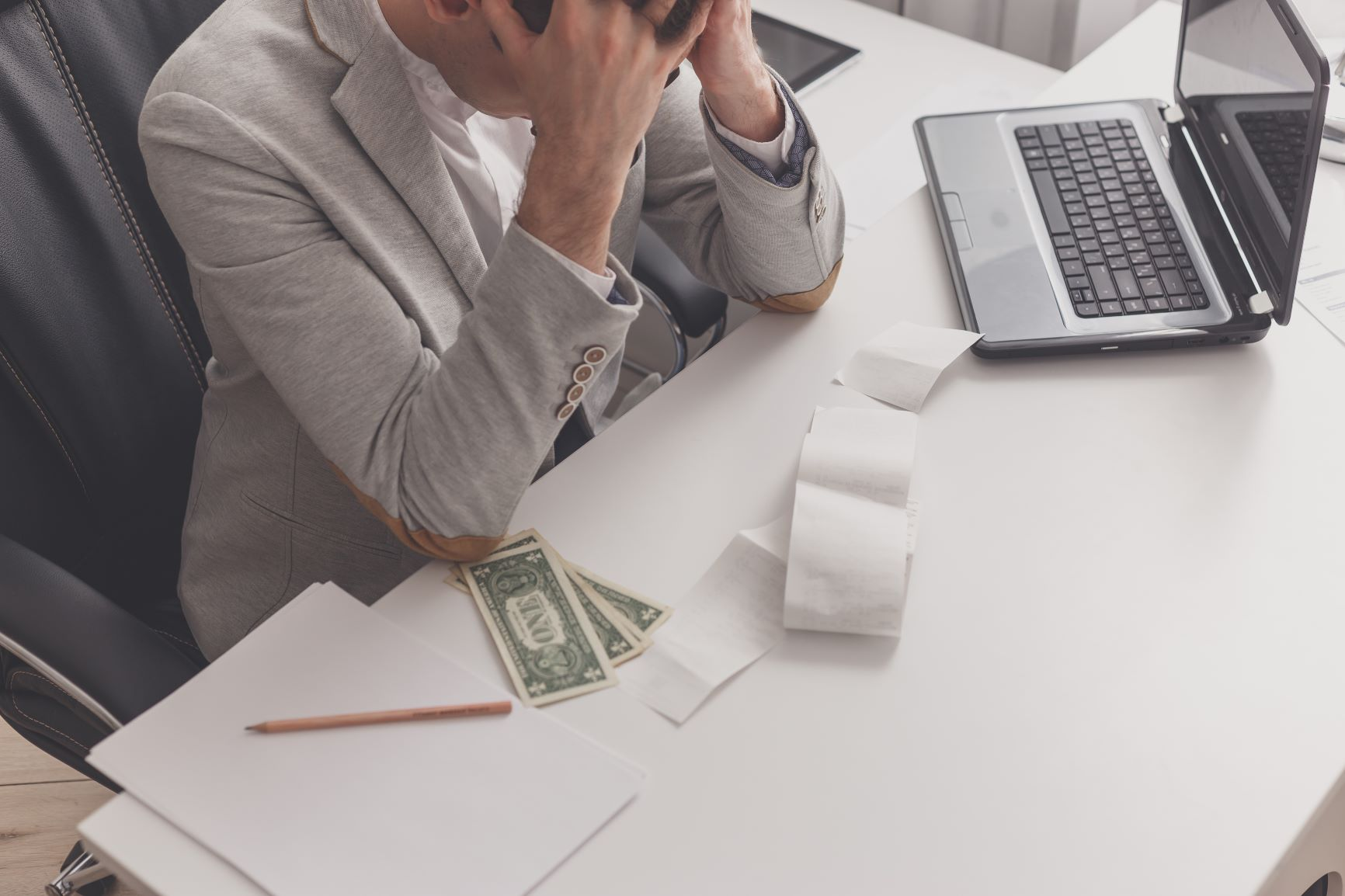 Man stressed about financial debt