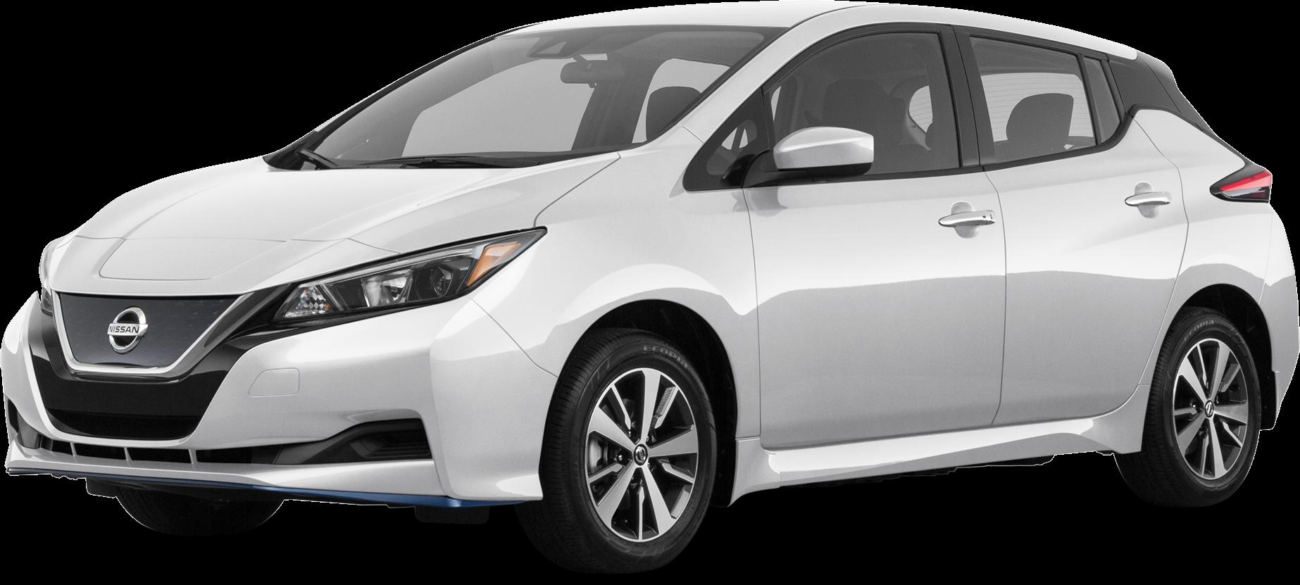 White Nissan leaf electric car