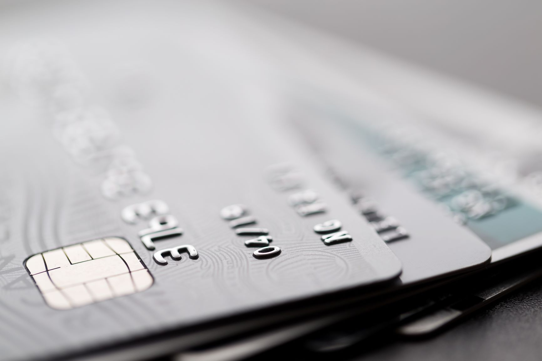 silver credit cards close up