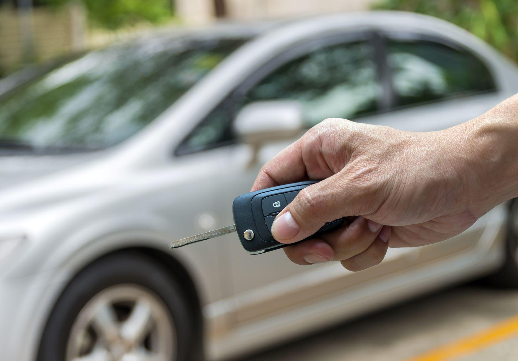 Silver car key fab