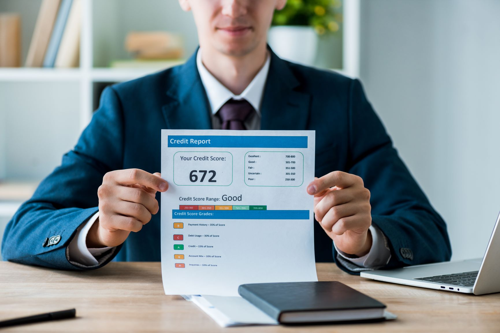 man in suit holding up credit report