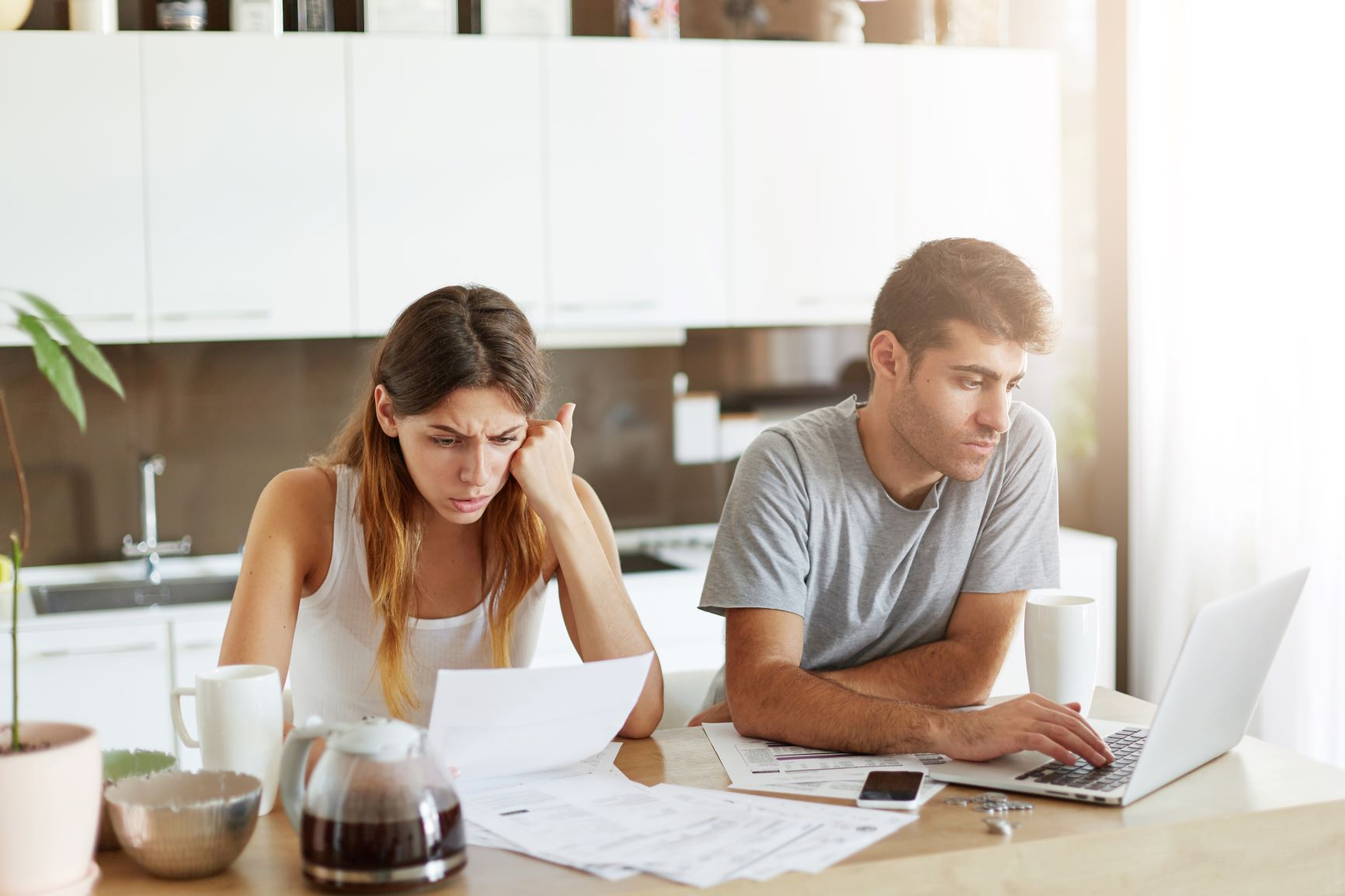 couple going over credit paperwork