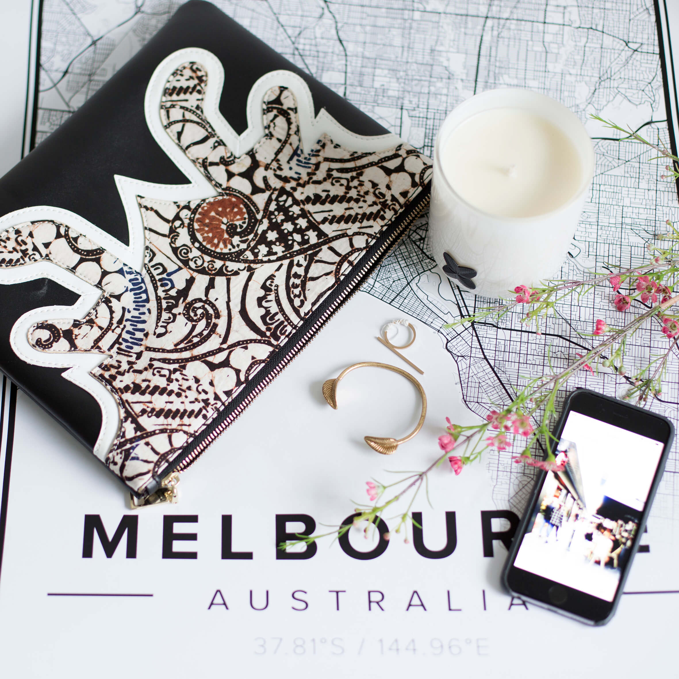 Our favourite clutch on top of a map of Melbourne.