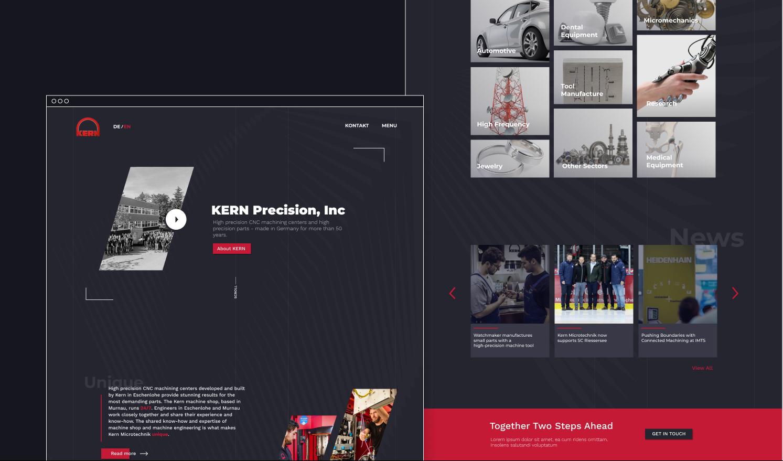 KERN Microtechnik UX/UI of the new corporate website